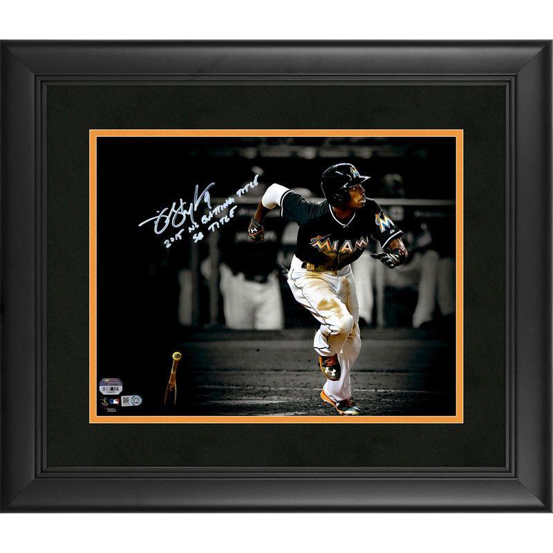 "Dee Gordon Miami Marlins Fanatics Authentic Framed Autographed 11"" x 14"" Spotlight Photograph with 2015 NL Batting Title, SB Title Inscription"