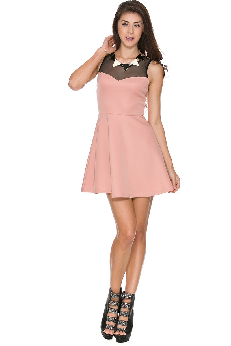 Foreign Exchange Women Dresses Day Top Mesh Fit Flare Dress