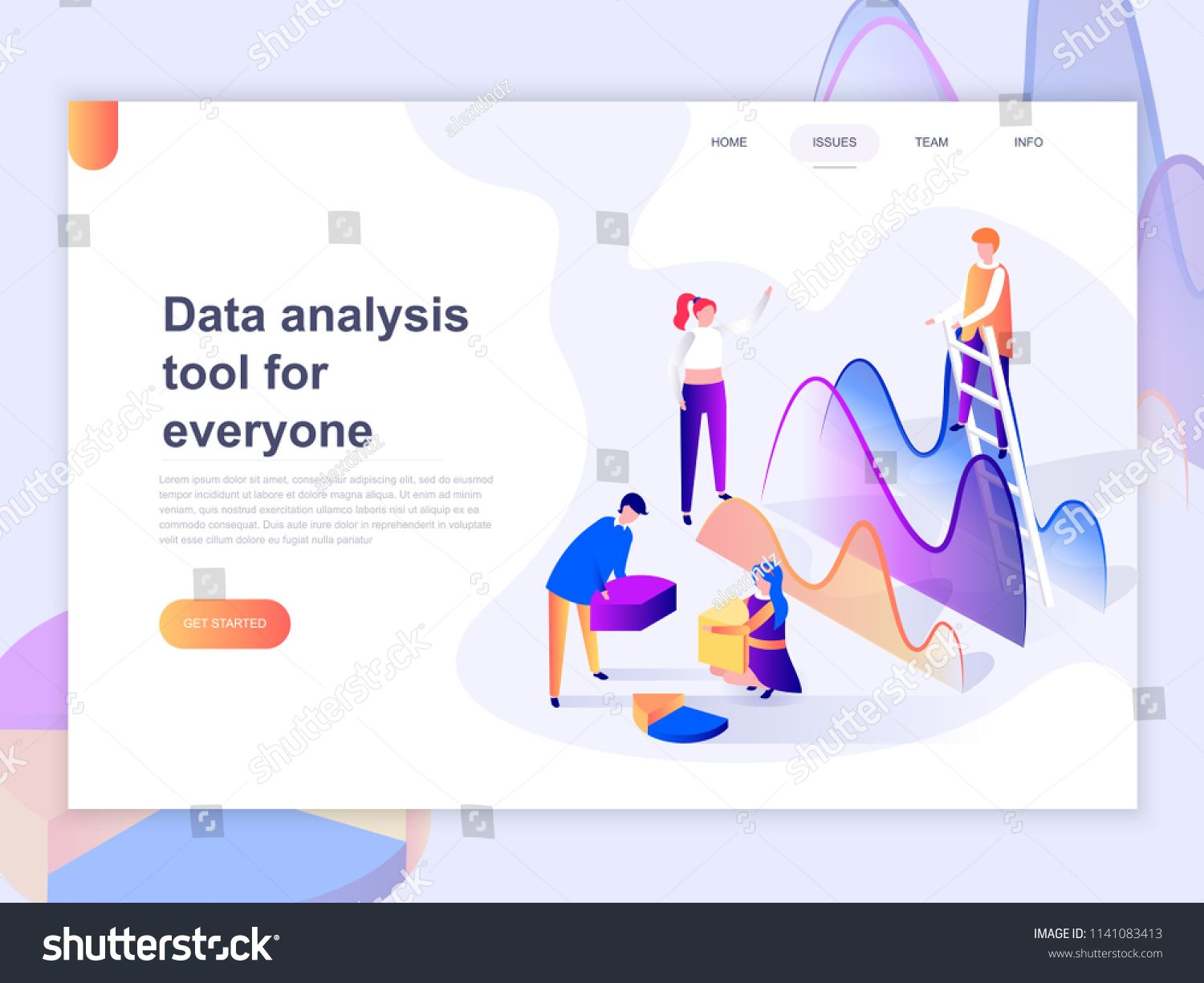 Landing Page Template Of Data Analysis And Office Situations 3d