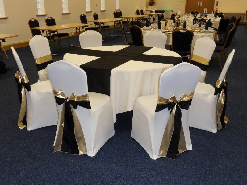 gold chair covers with black sash armchair slipcover diy formal sashes in and on white they create a