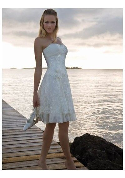 Organza Strapless A Line Short Style Beach Wedding Gown WH 0044