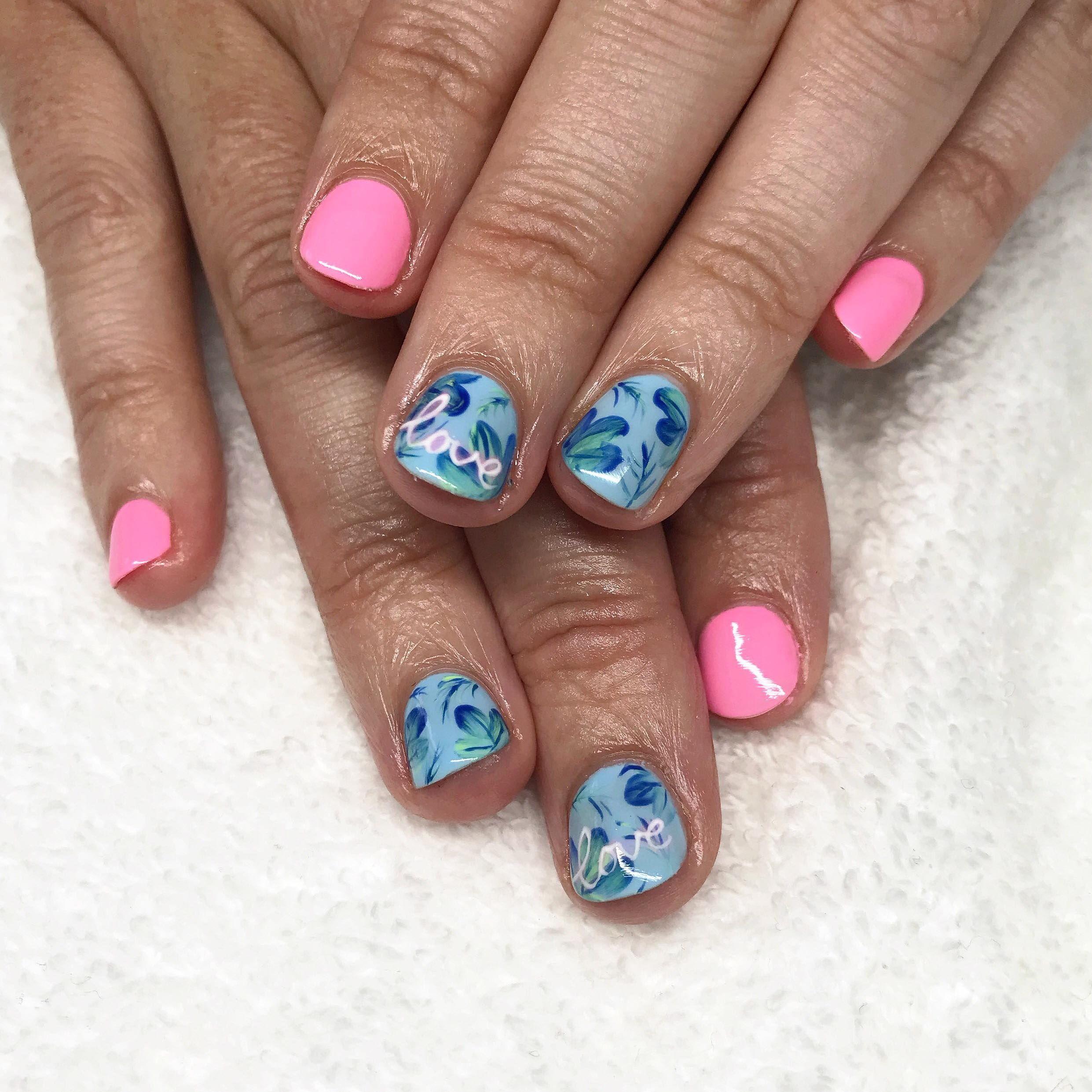 Plume Nail Design Hand Painted Nail Art Summer Nail Art Plume