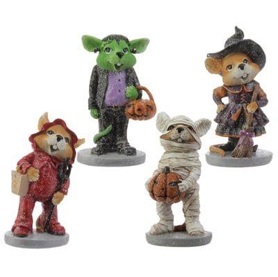 "RAZ Mice in Costume Halloween Decor Set of 4 4 Assorted Halloween Mice Frankenstein, Witch, Devil, Mummy Made of Resin Measures 5.5"" X 3"" X 2""; 5"" X 3.5"" X 2""; 5"" X 3"" X 2.5""; 5"" X 3"" X 2"" RAZ"