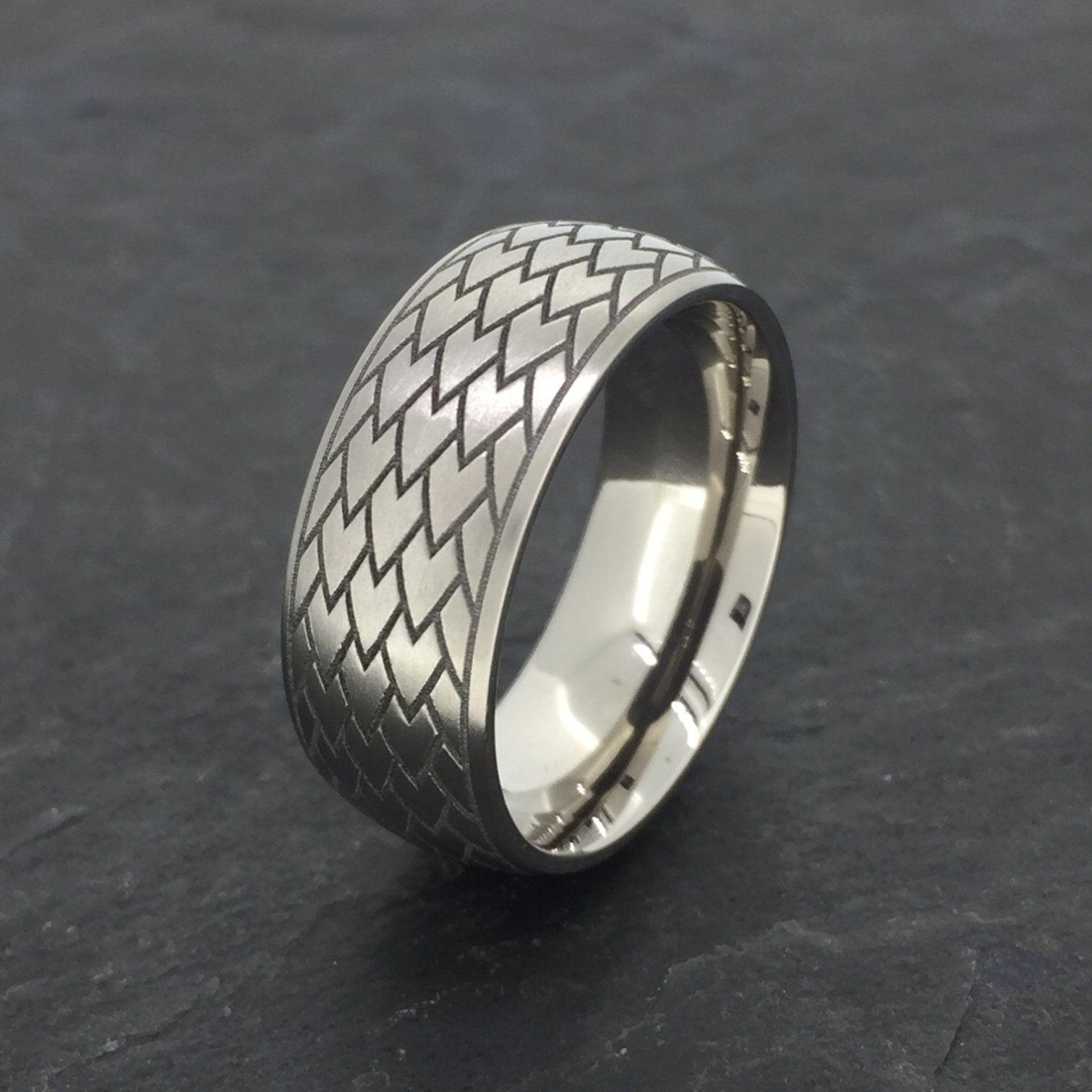 Titanium Ring, Engraved Dragon Scales in 2020 Titanium