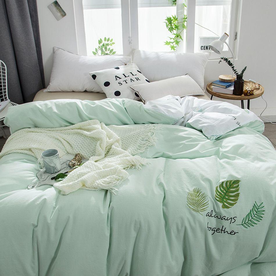 Cotton Duvet Set Duvet King Size Duvet Cover Green Cute Duvet Cover Leaves Embroidered Bedding Bed Cover For Kids Da798jj 2 Sliprc Green Duvet Covers Bed Home