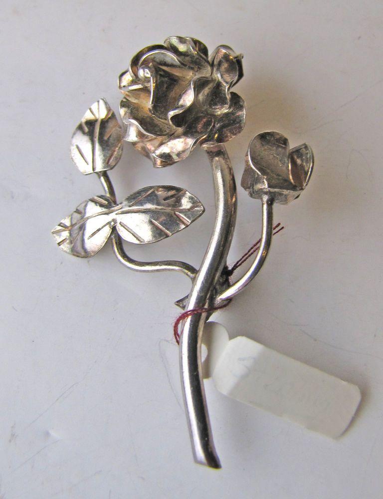 Vintage 925 Sterling Silver Mexico Taxco Flower Pin Brooch 9258W | eBay