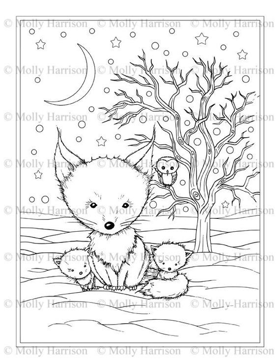 Fluffy Winter Fox Family Coloring Page Printable Instant