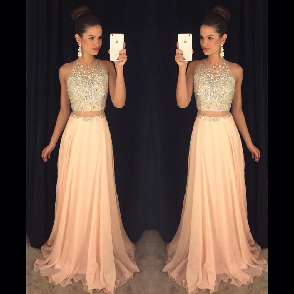 Fake two pieces design rhinestone blush pink long prom