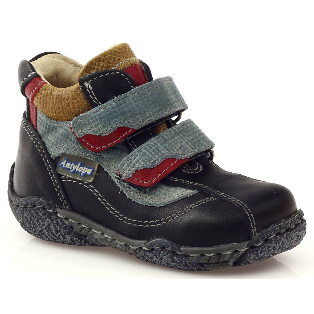 Trzewiki Dzieciece Rzepy Antylopa Granatowe Czerwone Niebieskie Czarne Childrens Leather Shoes Kid Shoes Boys Boots