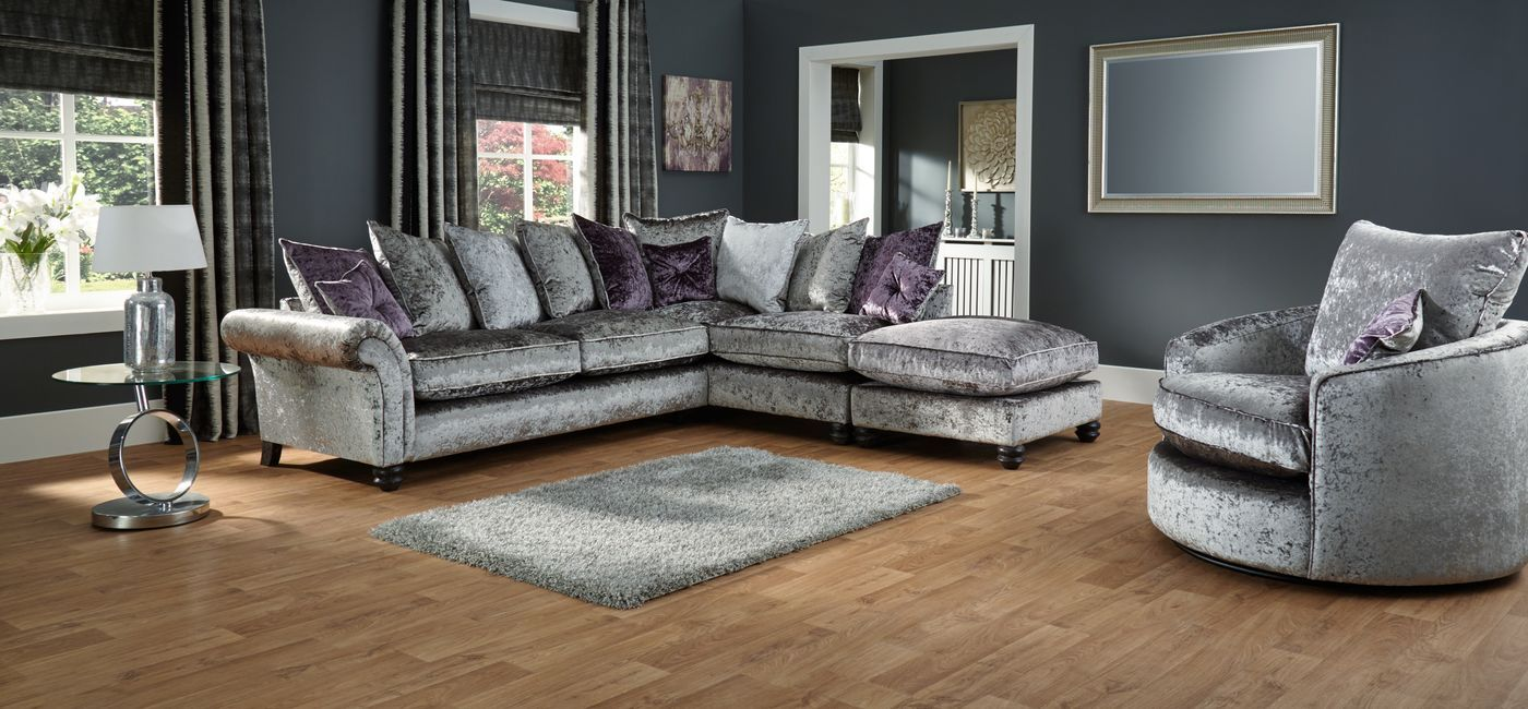 Cheap Sofas The Hepburn right hand facing corner chaise group bines glamorous velvet fabric scatter back cushions and fibre filled seat interiors