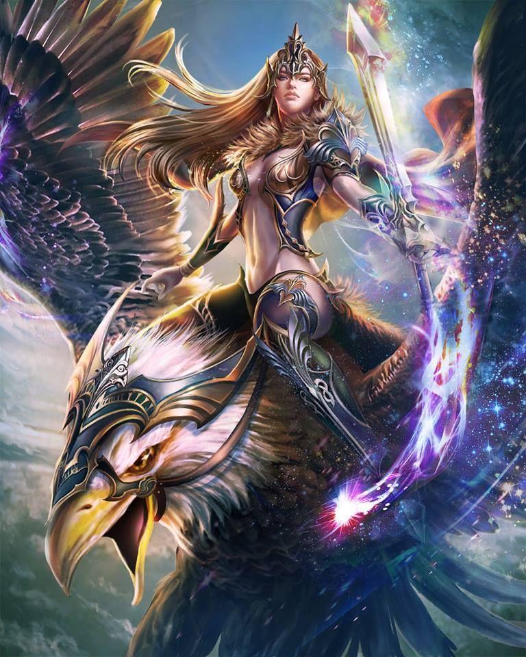 Falcon girl art fantasy warriors fantasy bilder - Anime female warrior ...