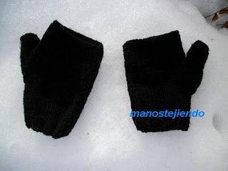 Manos tejiendo: Mitones a dos agujas