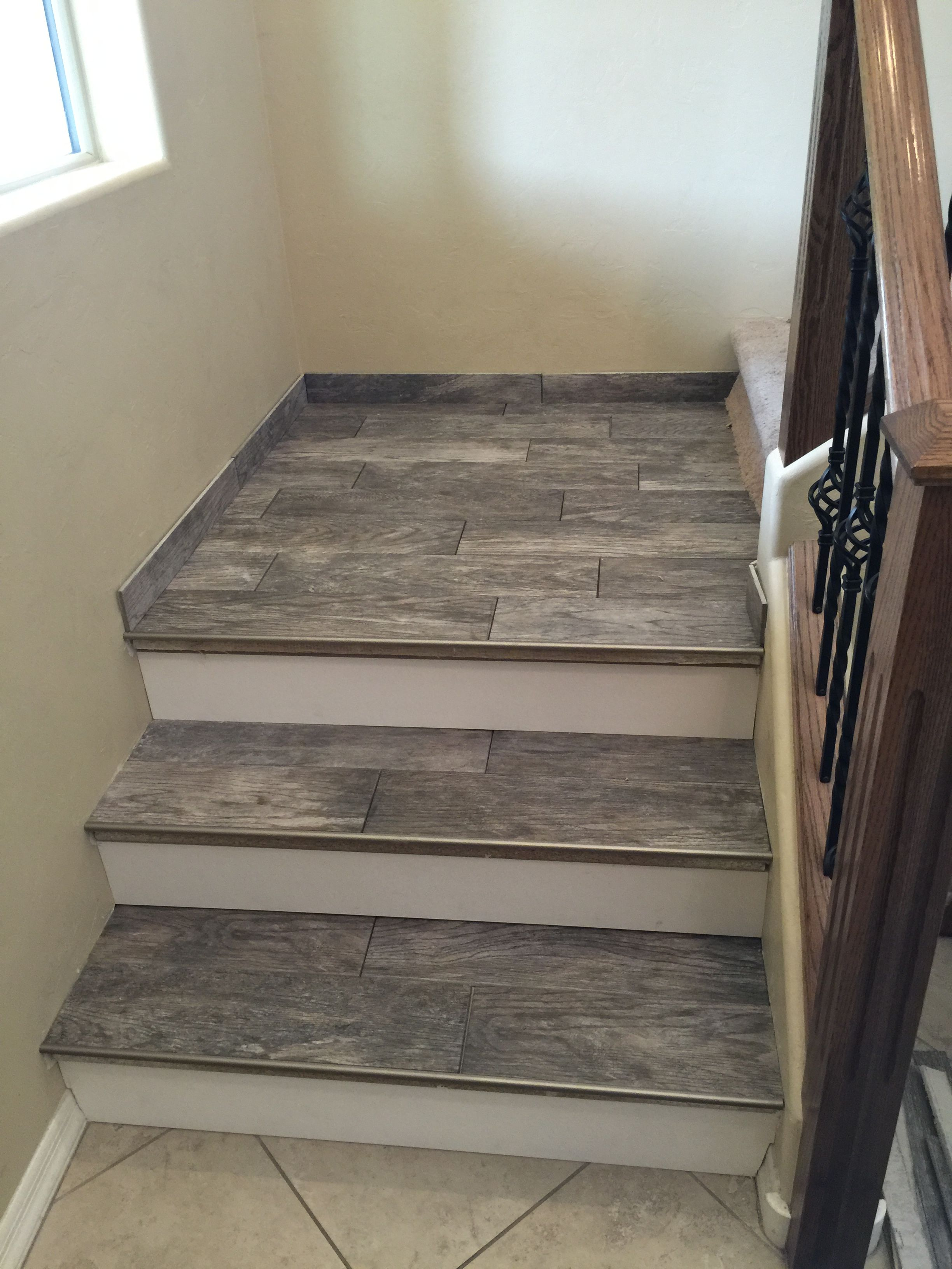 Porcelain wood look tile stairs
