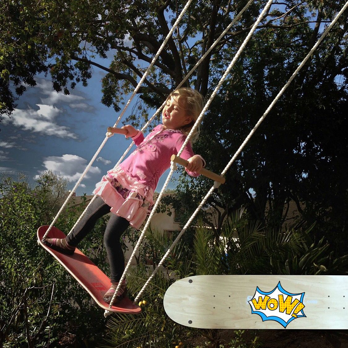 do you want to own this awesome skateboard swing in your backyard