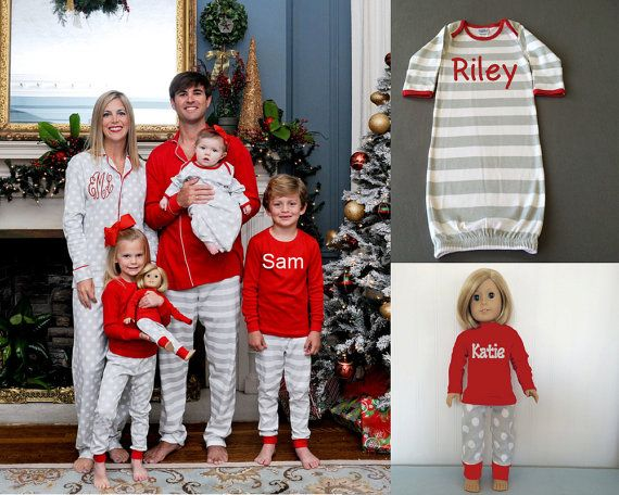 3fda8908c5 Monogrammed Christmas Pajamas Embroidered by WhamBamMonograms Baby - family christmas  pajamas