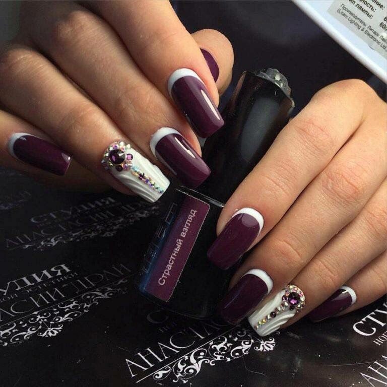 Bordeaux white nails