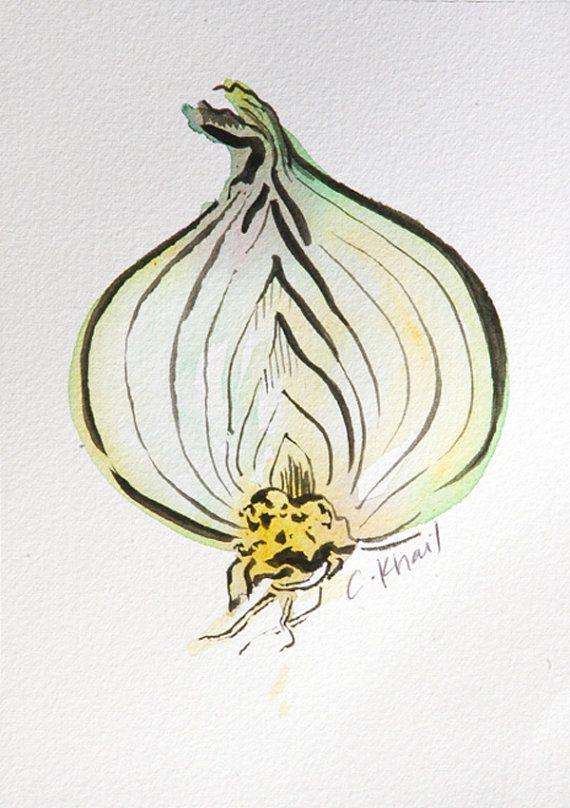 Green Onion Original Watercolor Painting Original Watercolor