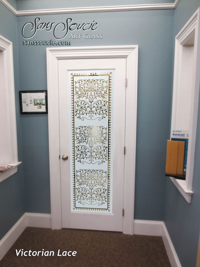 Lovely Victorian Lace Negative Interior Etched Glass Doors