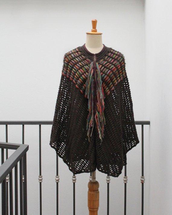 Photo of Crochet poncho Crochet wrap Fringes poncho tunic coverup | Etsy