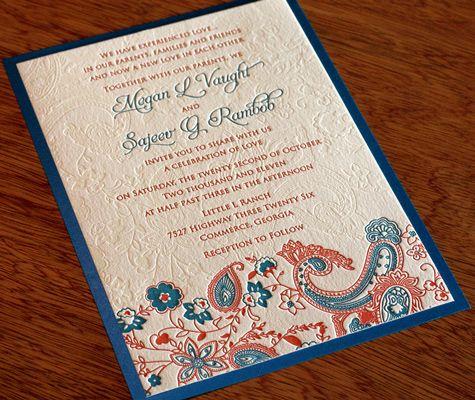 New Wedding Invitation Design Tanvi Letterpress Indian Invitations Photo