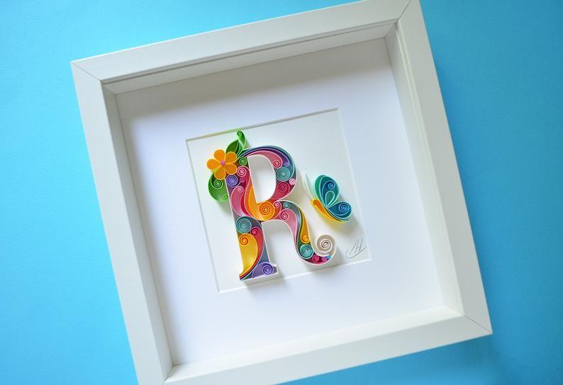 D Quilling Wall Paper Art Custom Framed Monogram Etsy Quilling Art Paper Art Quilling