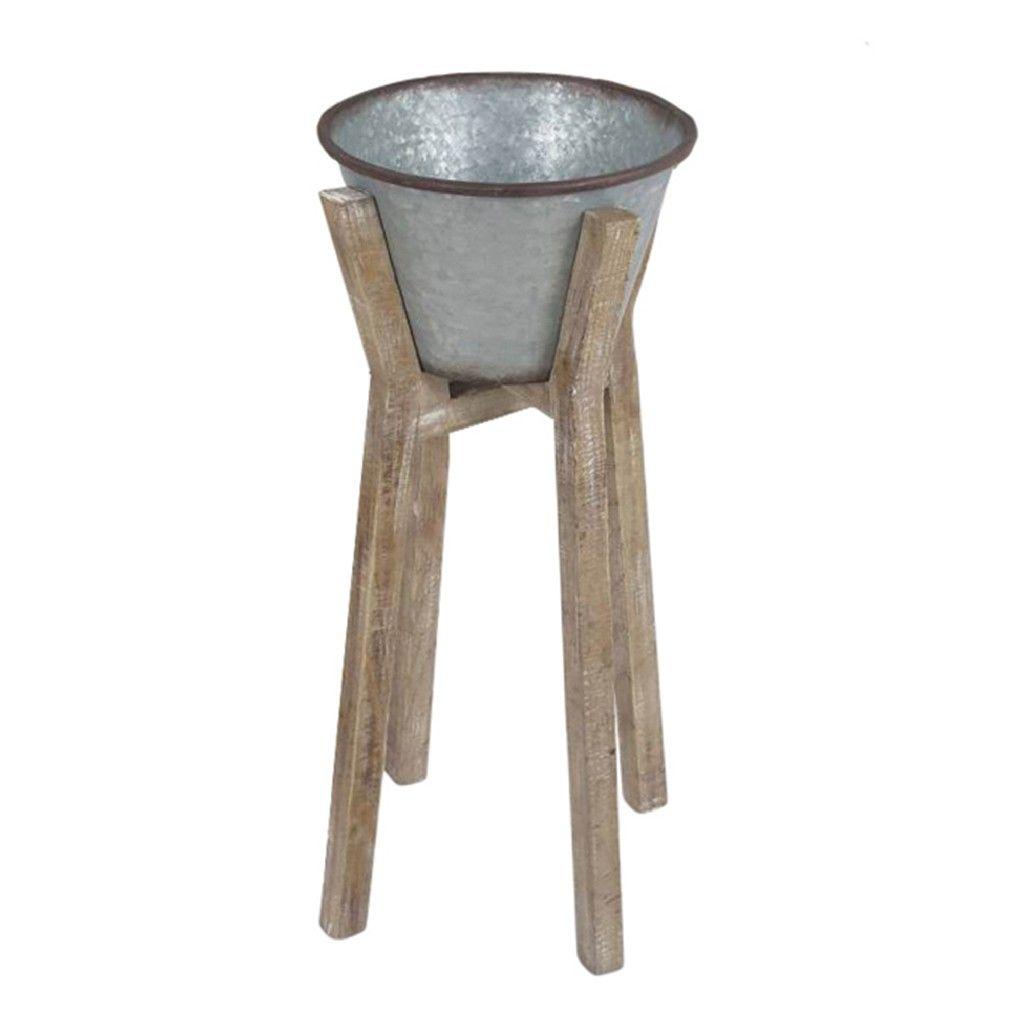 Silver Metal and Wood Planter 35.5″, Kd – Sagebrook Home 12958-01 Garden
