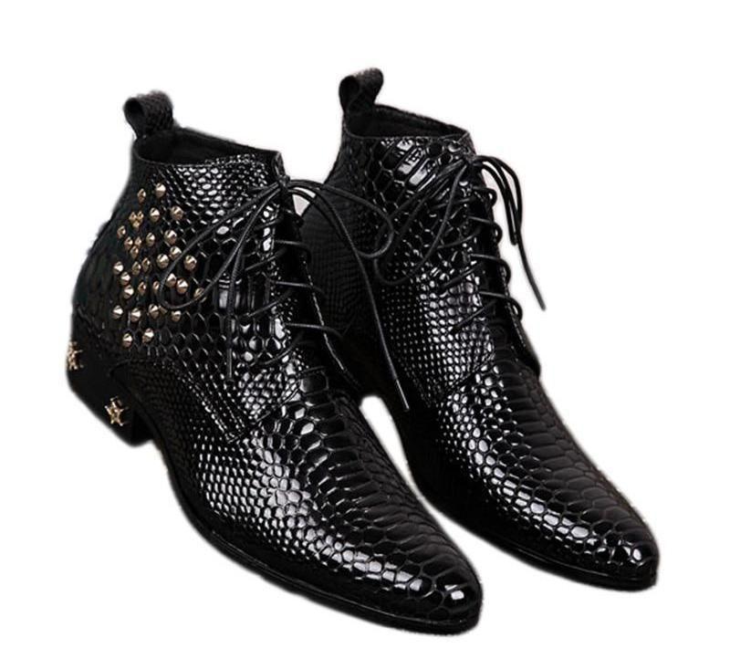 dec94be5b29 Batzuzhi Top Fashion Man's Ankle Boots with stars and Rivets Men ...