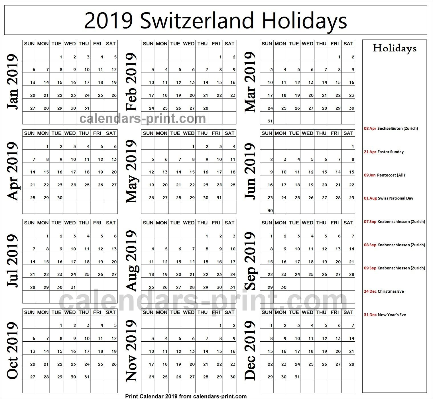 2019 Bank Holidays Switzerland Holiday Calendar Holiday Calendar Printable Free Calendar Template