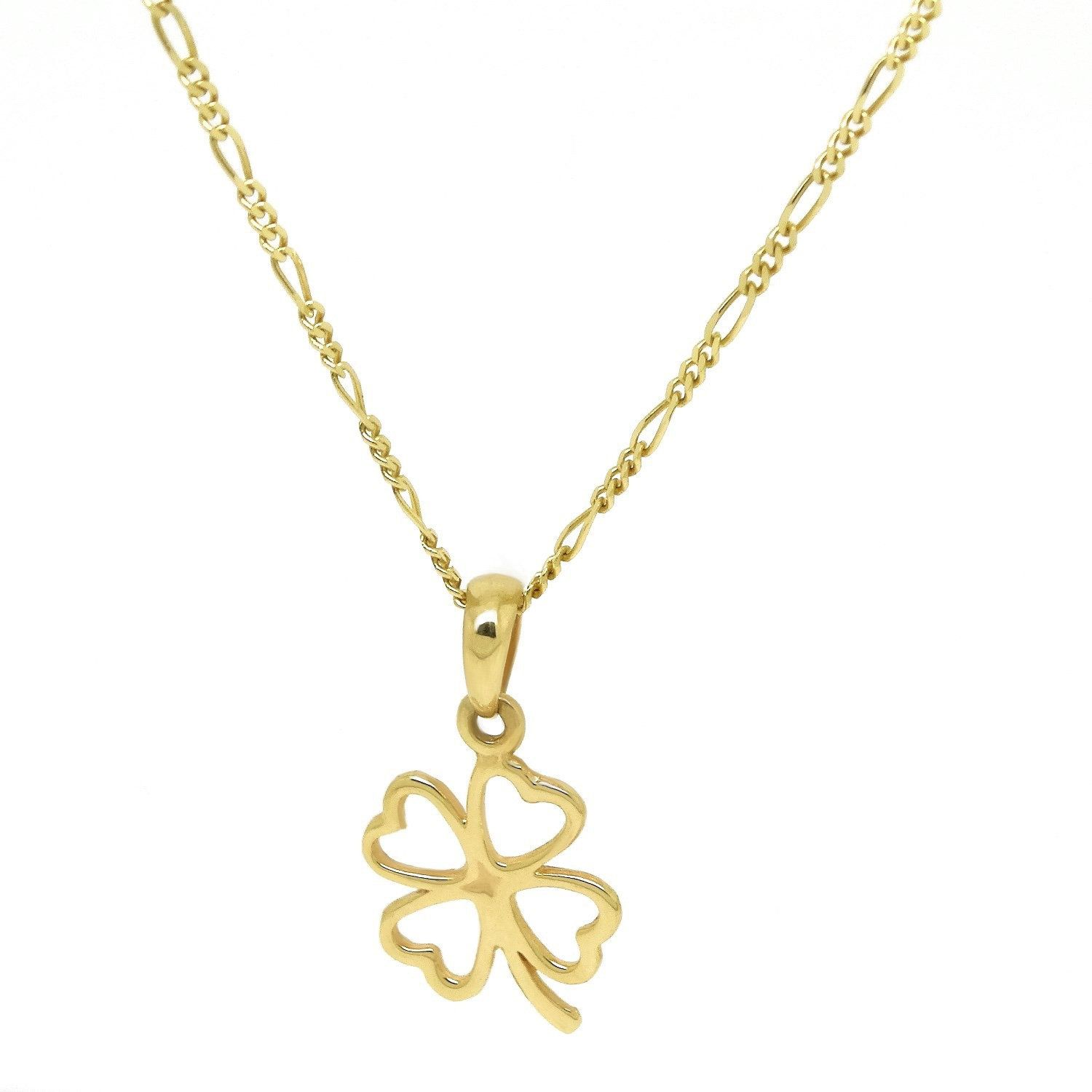 Gold 14k Four Leaf Clover Womens Necklace 14k Solid Yellow Etsy Four Leaf Clover Necklace Yellow Gold Necklaces Womens Jewelry Rings