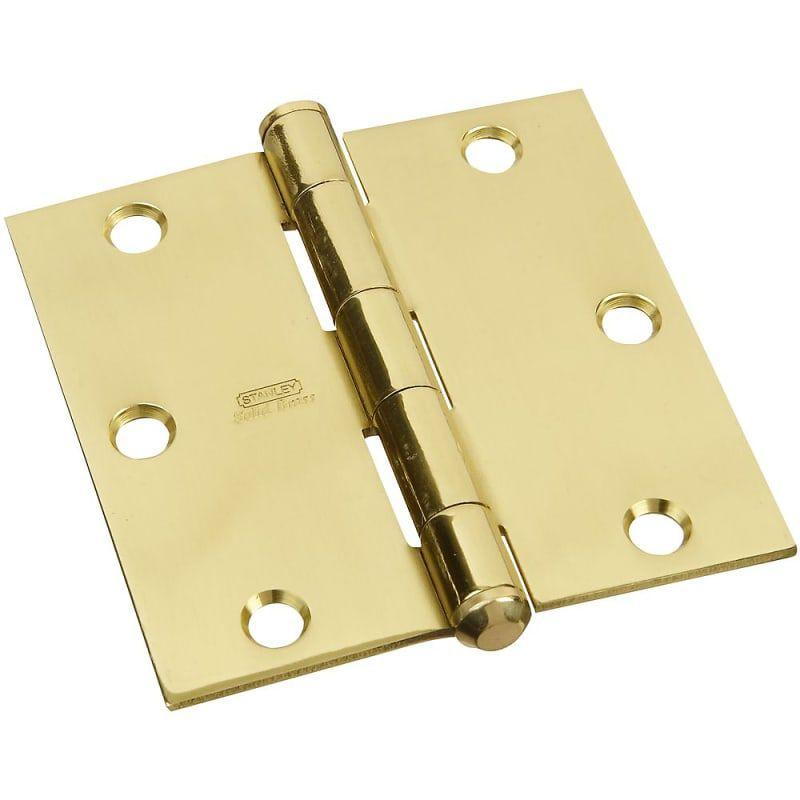 Stanley 749 312 3 5 X 3 5 Solid Brass Square Corner Plain Bearing Mortise Hing Polished Brass Door Hinge Plain Bearing 3 1 2 X 3 1 2 Door Hinges Solid Brass Polished Brass