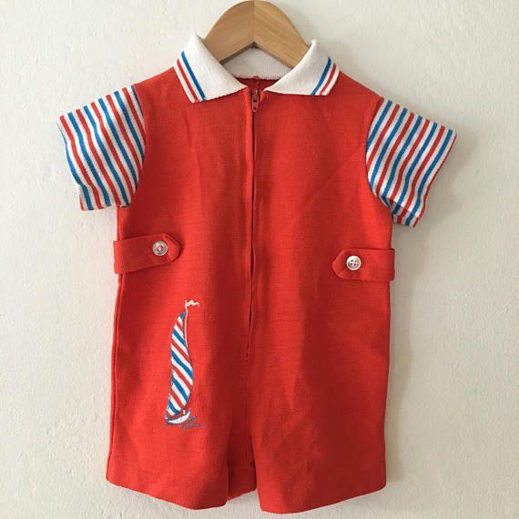 800043dedc86 Vintage 70s Baby Boy or Girls Red White   Blue Romper w