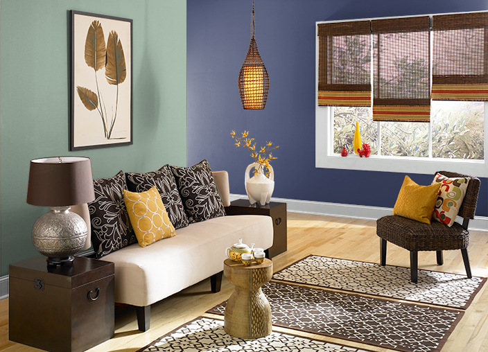 LIVING ROOM:  This is the project I created on Behr.com. I used these colors: COPPER PATINA(S410-4),NOBILITY BLUE(PPU15-01),