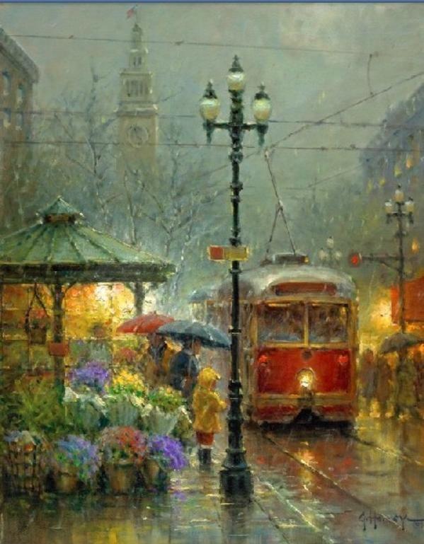 Rainy Season 絵画 ヴィンテージイラスト 綺麗な景色