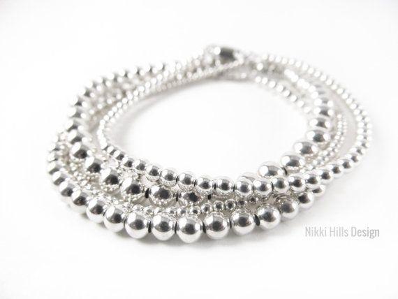 Silver Bead Bracelet, Bead Bracelet, Nikki Hills Design, 2mm, 3mm, 4mm, 5mm, Layering Stacking Jewelry by NikkiHillsDesign