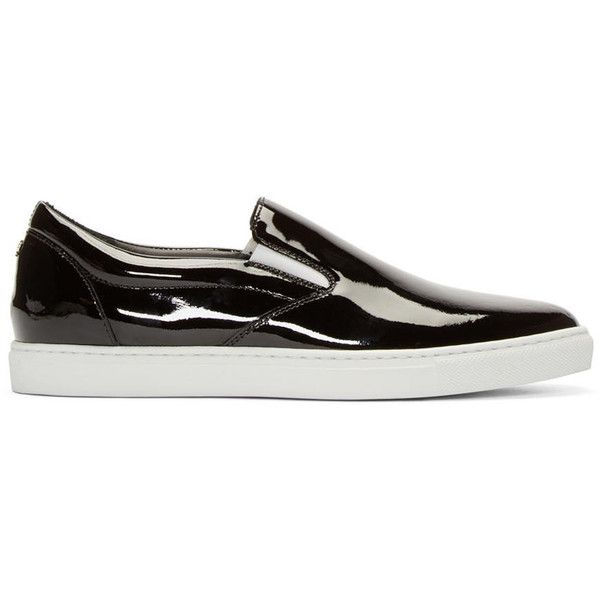 Dsquared2 Black Patent Leather Slip-On Sneakers (€525) ❤ liked on Polyvore featuring men's fashion, men's shoes, men's sneakers, mens slipon shoes, mens black patent leather shoes, mens patent leather shoes, mens black slip on sneakers and dsquared2 mens shoes