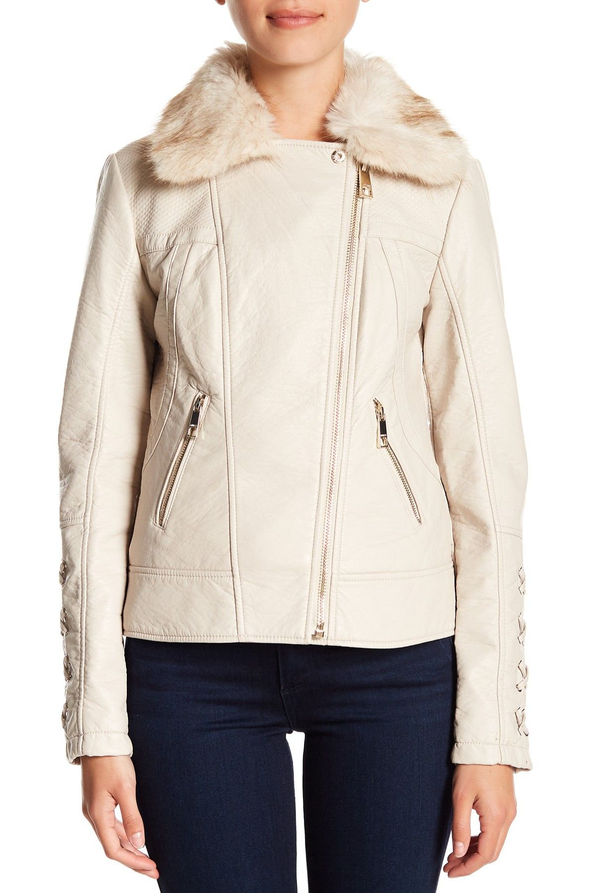 GUESS Faux Fur & Leather Moto Jacket in 2020 Leather