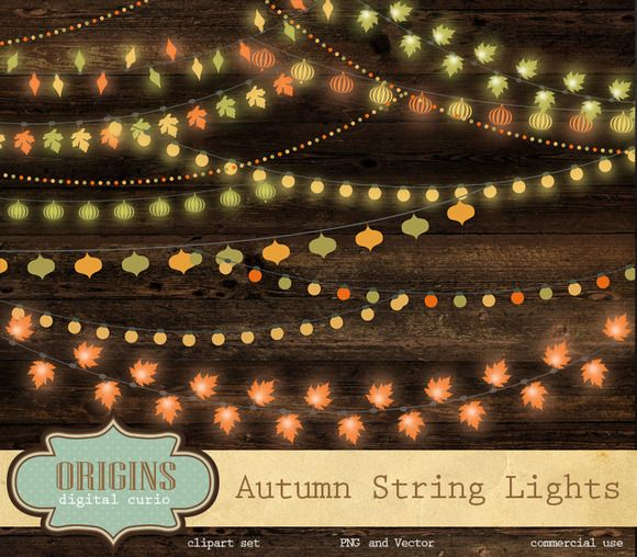 String Lights With Clips Autumn String Lights Clipartorigins Digital Curio On