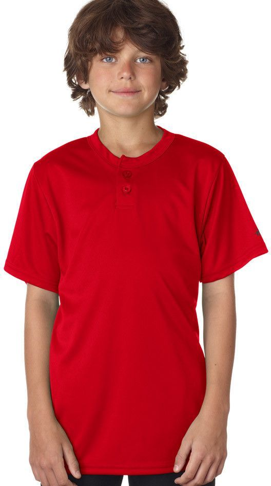 badger youth b-core henley tee - red (xs)