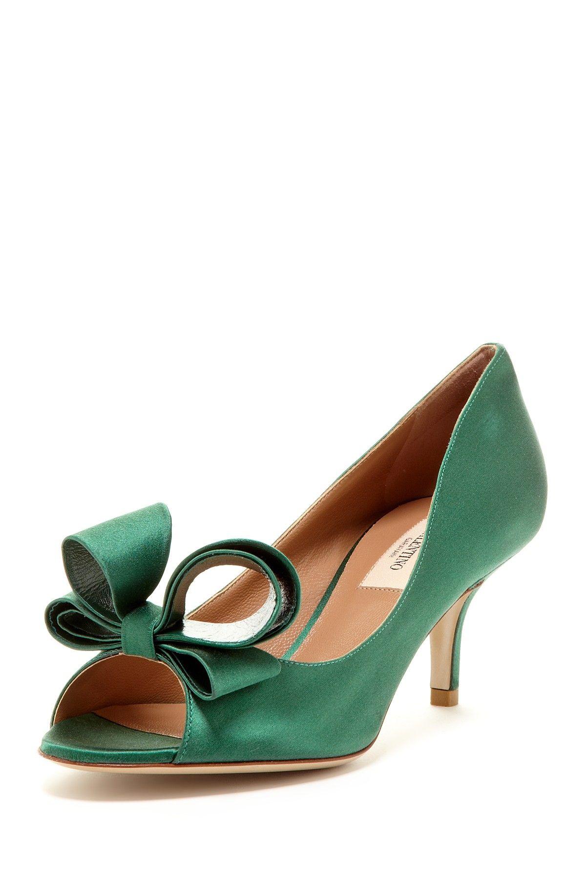 Valentino Emerald Peep Toe with Bows