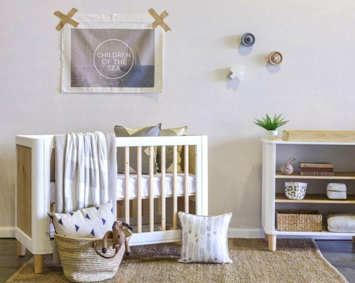 Kinderzimmer Skandinavisch Babybett Holz Sisalteppich Wanddeko