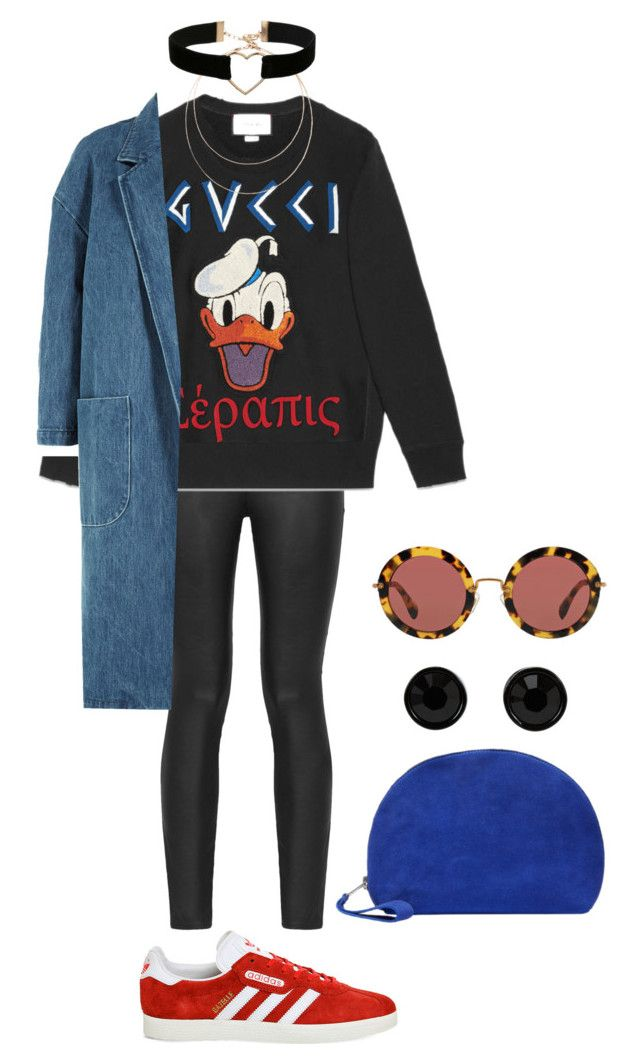 """""""Senza titolo #2516"""" by monsteryay ❤ liked on Polyvore featuring Armani Jeans, Gucci, Sandy Liang, adidas, Sole Society, Miss Selfridge, SELECTED, Miu Miu and Givenchy"""