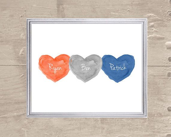 Brothers Print Triplets Gift Baby Boy Gift by OutsideInArtStudio