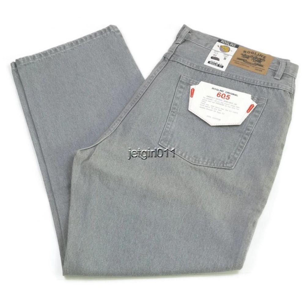 Roglins Mens Jeans Regular Fit Preshrunk Metal Gray 40 x 30 Style ...