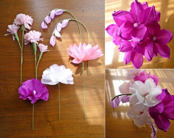 Papier Blumen Verschiedene Arten Falten Basteln Seidenpapier