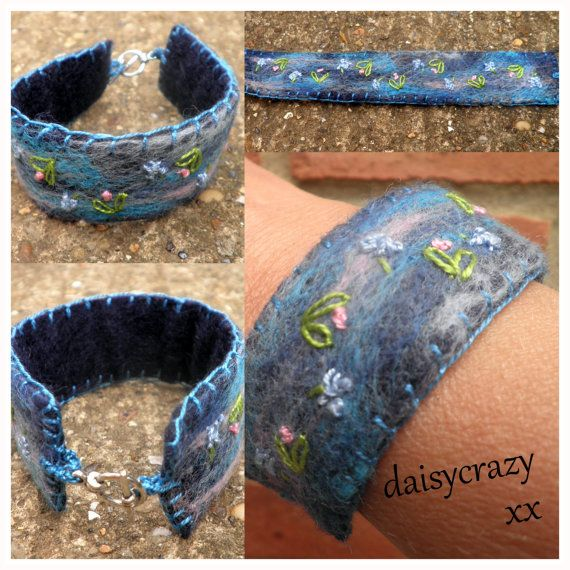 felted and embroidered cuff blue with by daisycrazycreations