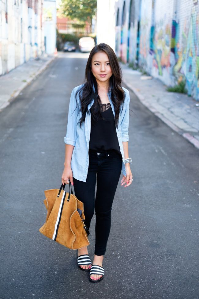 ddcb1b36505 Layer a chambray shirt over all black for