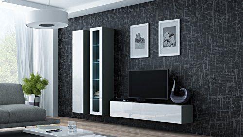 Wohnwand VIGO 10 Anbauwand Wohnzimmer Mbel Hochglanz LED Beleuchtung Gnstig Kaufen