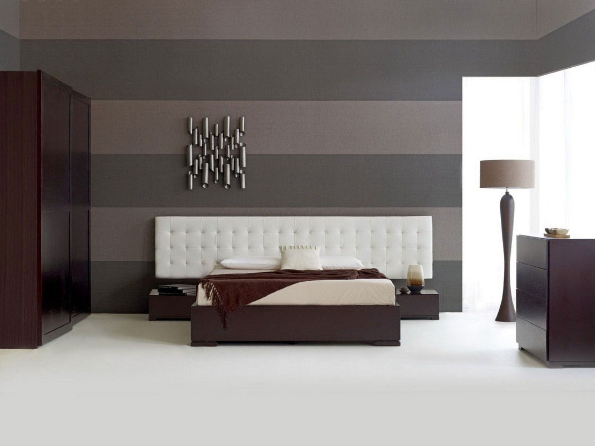 Ultra modern bedroom interiors - Bedroom Ultra Modern White Tufted Headboards Varnished Oak Hardwood Flooring With Contemporary Bathroom And Black