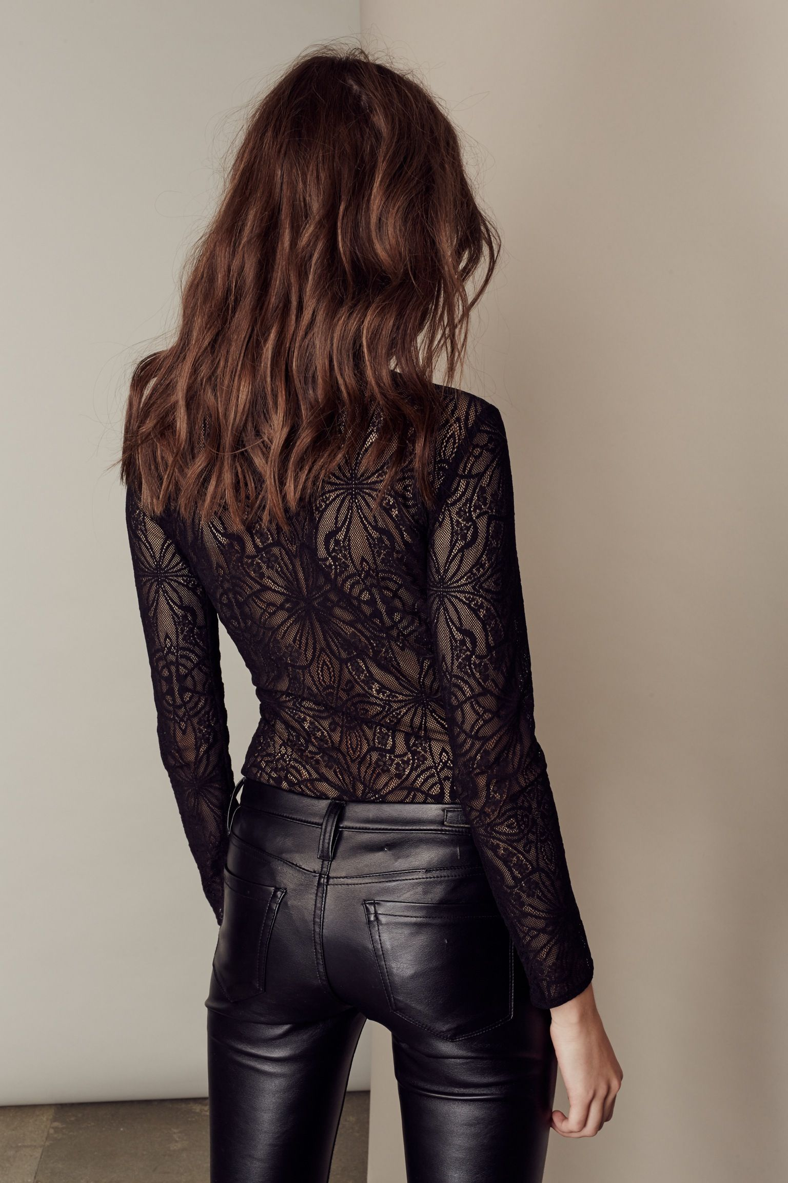 634f45678e6a50 date night outfit; black leather pants; intricate bodysuit | Fashion ...