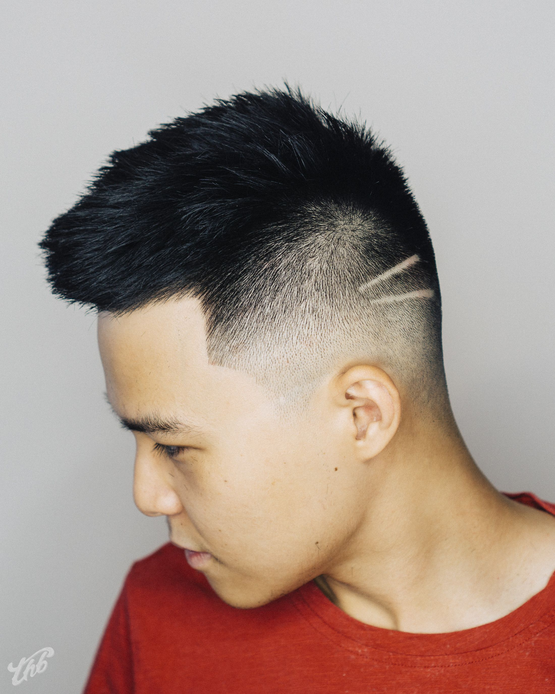 Asian Mid Zero Fade Short Top And Simple Lines Haircut By Barber